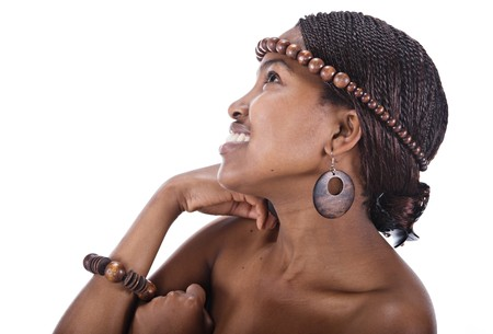 Portrait of a beautiful African girl with braids and head beads  Stock Photo