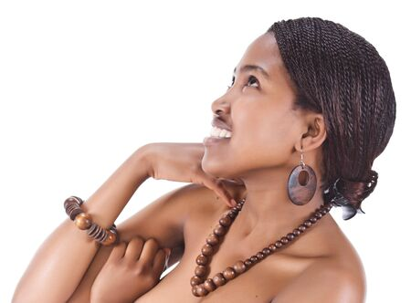 plait: Portrait of a beautiful African girl with braids and necklace beads