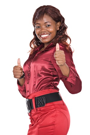 blusa: African American sexy negocios con falda y blusa de color rojo