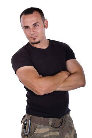 Soldado de camuflaje en pantalones y camiseta negro, aisladas en blanco Foto de archivo - 4118290