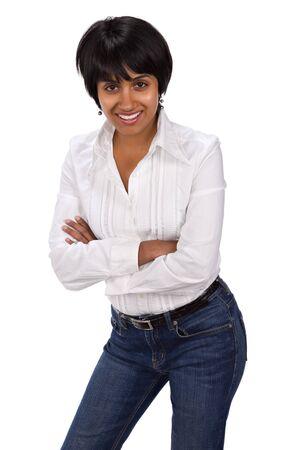 white pants: Portrait of hispanic race girl, isolated on white