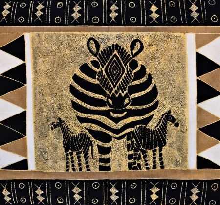 visual art: African motifs painted on textile, from the craft market Botswana, unfortunately this item is mass production for tourists.