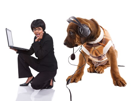 Rhodesian ridgeback puppy, listening music, looking at multiracial girl with laptop photo