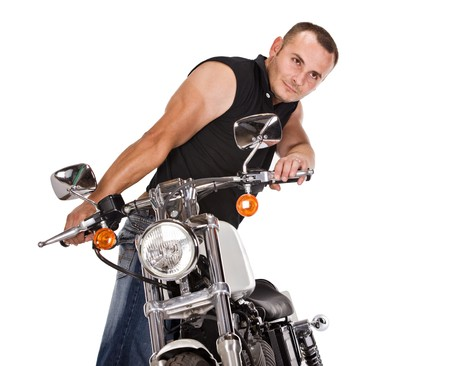 man with short hair riding a bike, isolated on white photo