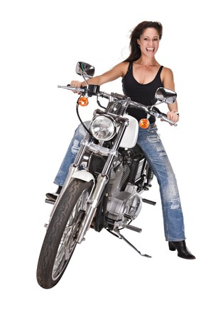 woman with long hair riding a bike, isolated on white