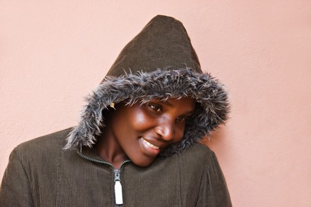 african woman face: African American woman dressed with winter clothes