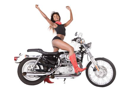 african woman with red scarf riding a bike, isolated on white photo