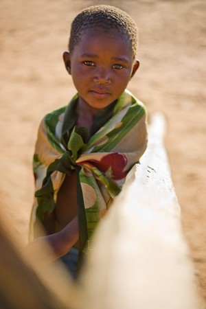 african boy living in a very poor community in a village near Kalahari desert Stock Photo - 4117813