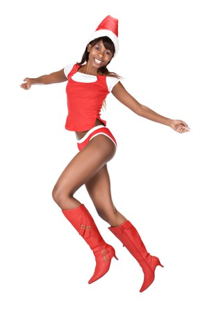 sexy  african american mother claus girl with red boots photo