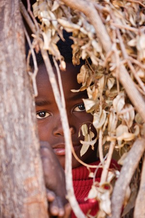 African child hiding between the branches of an African hut in a village near Kalahari. Stock Photo - 4118361