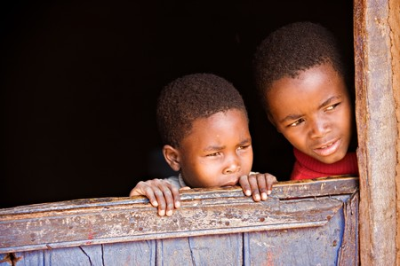 Portrait of poor African children, location Mmankodi village, Botswana