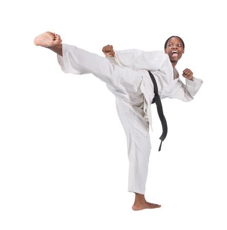 african american woman in karate suit