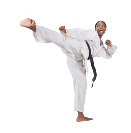 sensei: african american woman in karate suit