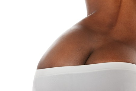 fesses black: pi�ce isol�e de cul avec culotte coton blanc partielle Banque d'images