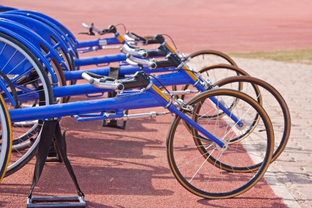 paralympic games, racing bikes  wheelchairs  Stock Photo