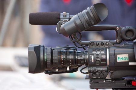 electronic news gathering video camera HD, equipment in the field photo