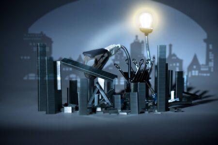 grapadora: destrucción conceptual de la ciudad vieja por la oficina de dinosaurio metalovore papelería, era industrial Foto de archivo