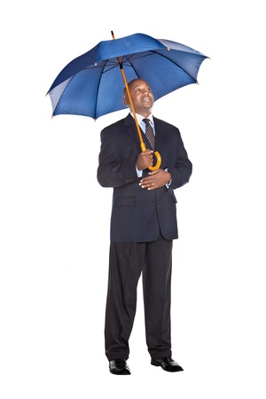 man with a goatee: business man in suit with umbrella  isolated on white
