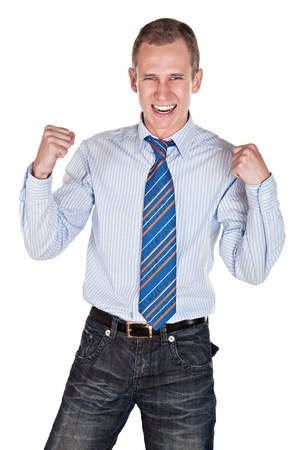 convinced: blonde caucasian man, winner expression, isolated on white