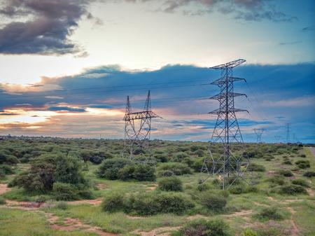 High voltage power lines Foto de archivo