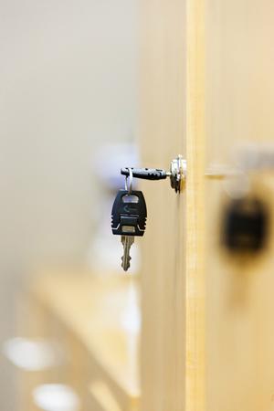 View of a wooden key locker Stock Photo