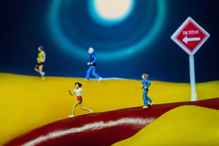 conceptual runners on yellow and red peppers