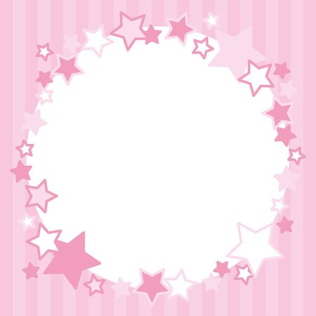 Frame of pink stars circle.Stripe pattern. Çizim