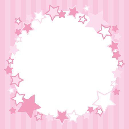 Frame of pink stars circle.Stripe pattern. Illustration
