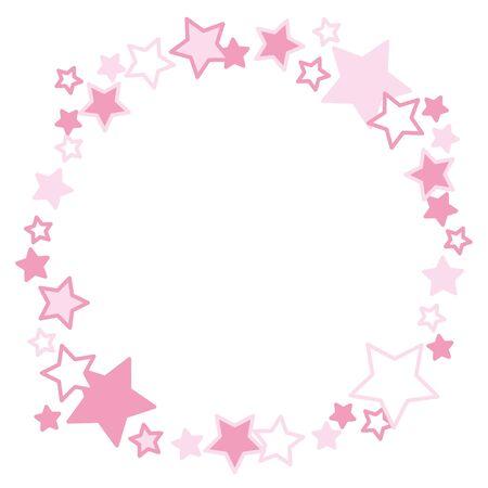 Frame of pink stars circle. Vector Illustratie