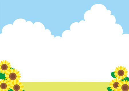 Illustration of sunflower blooming under the blue sky.Side wide size. 일러스트