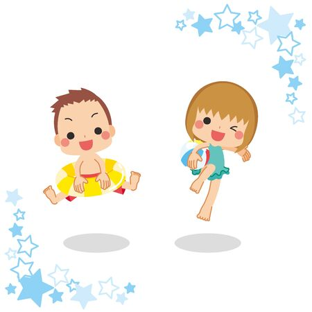 Illustration of boy and girl in swimsuit.