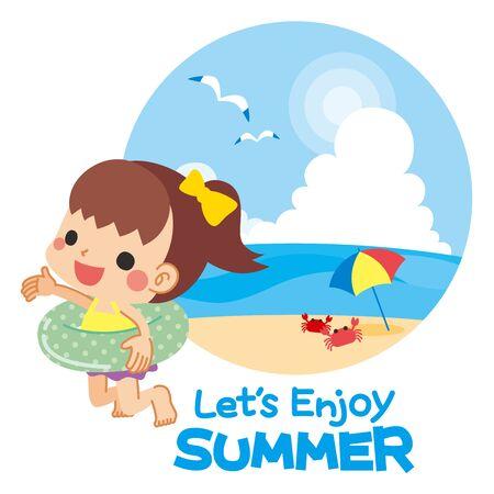 Illustration of girl in swimsuit. Background is beach in summer. Illusztráció
