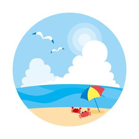 Illustration of beach in summer.