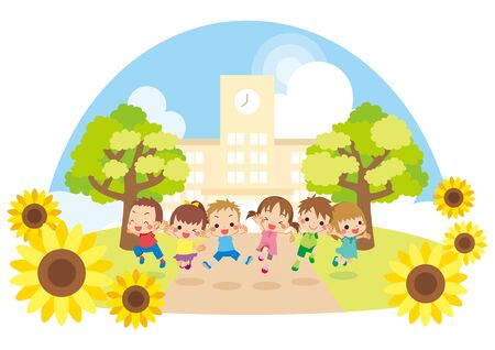 Illustration of kids jumping in front of elementary school.  イラスト・ベクター素材