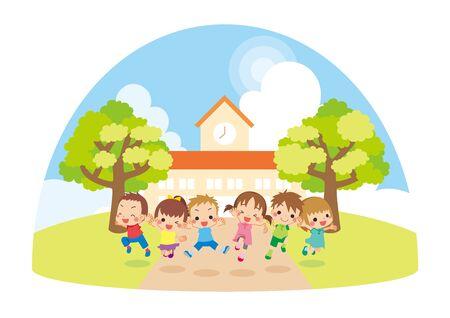 Illustration of kids jumping in front of kindergarten.  イラスト・ベクター素材