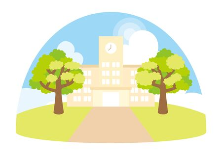 Illustration of a cute elementary school.  イラスト・ベクター素材