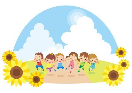 Illustration of kids jumping under the blue sky.