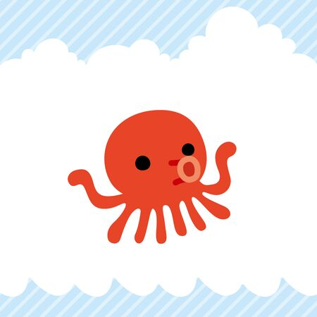 Illustration of cute octopus icon.