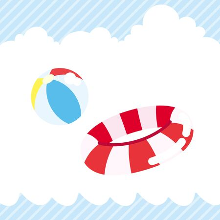 Illustration of beach ball and floating ring.  イラスト・ベクター素材