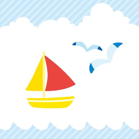 Illustration of sailboat and seagull.