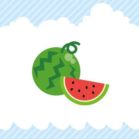 Illustration of cute watermelon icon.