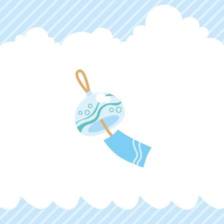 Illustration of cute wind chime. Иллюстрация