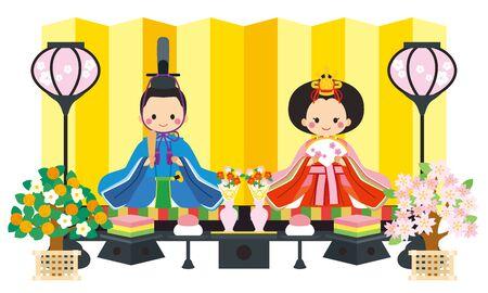 Illustration of Hina decoration. It is Hina doll and Hina decoration.