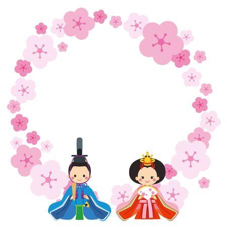 Illustration of hina doll. Frame of peach flower wreath.