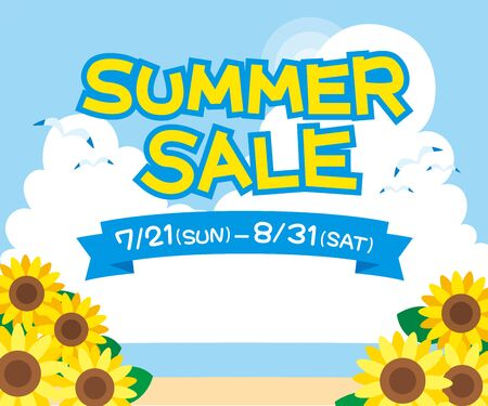 Summer sale banner Illustration of cumulonimbus and sunflower. Illusztráció
