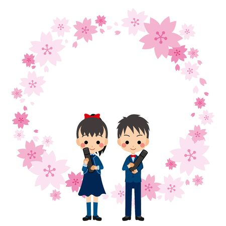 Illustration of graduation ceremony. Boy and girl are smiling. They are junior high school students. Frame of cherry blossom.