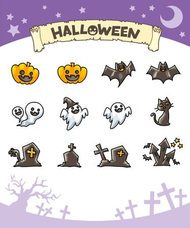 Illustration of cute halloween icons set. Vettoriali