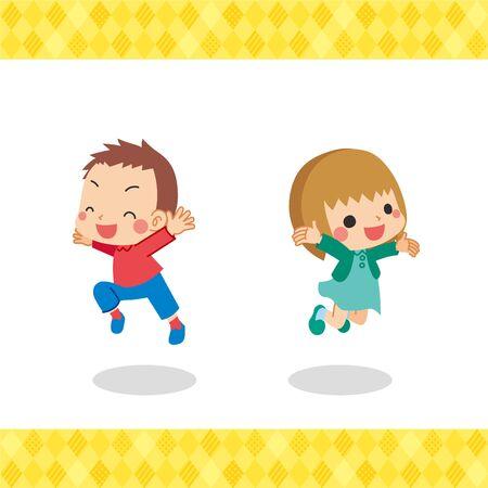 Children are jumping in autumn clothes. Stock Illustratie