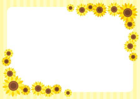 Illustration of cute sunflower frame.