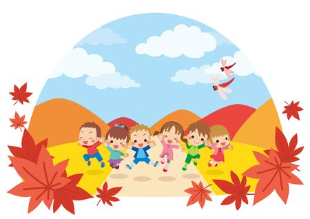 Illustration of kids jumping in autumn landscape.